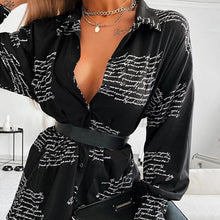 Load image into Gallery viewer, Spring Letter Printed Womens Shirt Black Turndown Collar Street Lady Female Shirts 2020 Summer Fashion Long Sleeve Tops Ladies