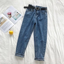 Load image into Gallery viewer, Korean Straight Jeans Women High Waist Denim Trousers Large Pocket Black Denim Pants Vintage with Belt Casual Plus Size 2020 New
