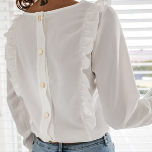 Women Ruffles White Back Buttons OL Blouse O-Neck Long Sleeve Solid Tops Female 2020 Spring Autumn Fashion Casual Blouses Ladies