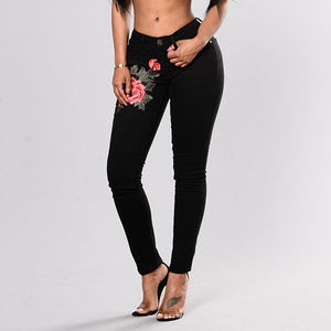 Stretch Embroidered Jeans For Women Elastic Flower Jeans Female Slim Denim Pants Hole Ripped Rose Pattern Jeans Pantalon Femme