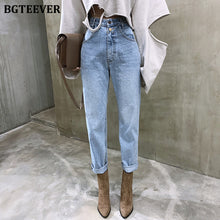 Load image into Gallery viewer, BGTEEVER Vintage High Waist Straight Jeans Pant for Women Streetwear Loose Female Denim Jeans Buttons Zipper Ladies Jeans 2020
