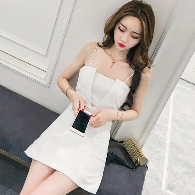 Wrap Dress Sukienki Black Dress Solid Sleeveless Summer Sundresse Backless Party Dress Elegant Mini Dress White SunDress