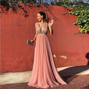 Summer Party Dress 2019 Women Elegant Sleeveless Pink Long Dresses Woman Party Night Sexy Backless Dress Ladies Chiffon Dresses