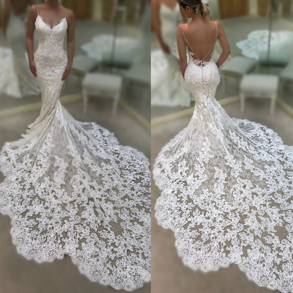 mermaid wedding dresses 2019 sweetheart neckline lace appliques backless fishtail bridal dresses gowns lace