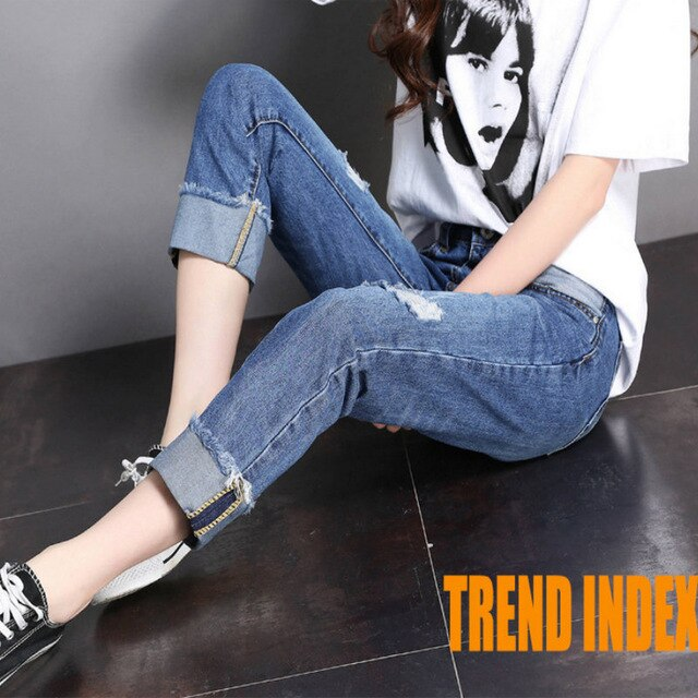 2020  young style jean solid woman sexy high woman ripped blue jeans 1043