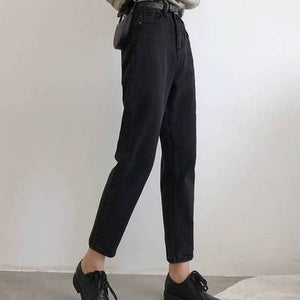 Korean High Waist Jeans Women Solid Harem Pants Loose Casual Plus Size High Street Denim Trousers Pantalon Femme With Belt 2020