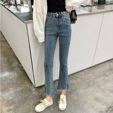 Load image into Gallery viewer, Jeans Woman Ankle-length Flare Leisure Black High Waist Korean Style Fashion Elegant Harajuku Students All-match Solid Simple