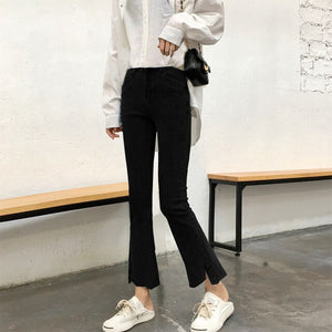 Jeans Woman Ankle-length Flare Leisure Black High Waist Korean Style Fashion Elegant Harajuku Students All-match Solid Simple