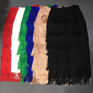 Newest Women 2019 Red White Green Blue Pink Black Solid Fashion Sexy Bandage Skirts Tassel Clubwear Good Quality Wholesale Festa