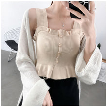 Load image into Gallery viewer, New 2020 Spring Summer Sexy Solid Ruffles Vest Tanks Tops Women Chic Knitted Sleeveless Slash Neck Tanks Beach Sports Crop Tops