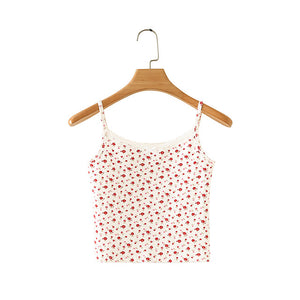 Floral tops women 2020 ribbed top cropped leopard print top sexy sleeveless cami crop top spaghetti strap pink cami tops sexy