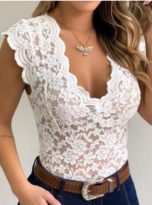 2020 Sexy Women V-neck Lace Tank Vest Top Summer Sleeveless Floral Hollow Out Bodycon Clubwear Tank Vest Transparent Shirts Tops