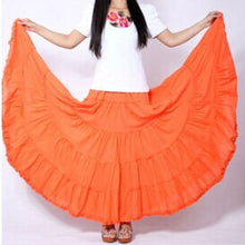 Load image into Gallery viewer, Long Skirts Womens  Fashion Candy Color Cotton Falda Female Vintage Casual Beach Bohemia Ruffle Big Pendulum Maxi Skirt