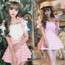 Load image into Gallery viewer, Women A-line Plaid Bowknot Straps Mini Skirt Young Girls Cute Kawaii Japan Soft Sister Fashion Pink Jumper Suspender Skirts JSK