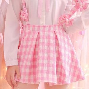 Women A-line Plaid Bowknot Straps Mini Skirt Young Girls Cute Kawaii Japan Soft Sister Fashion Pink Jumper Suspender Skirts JSK