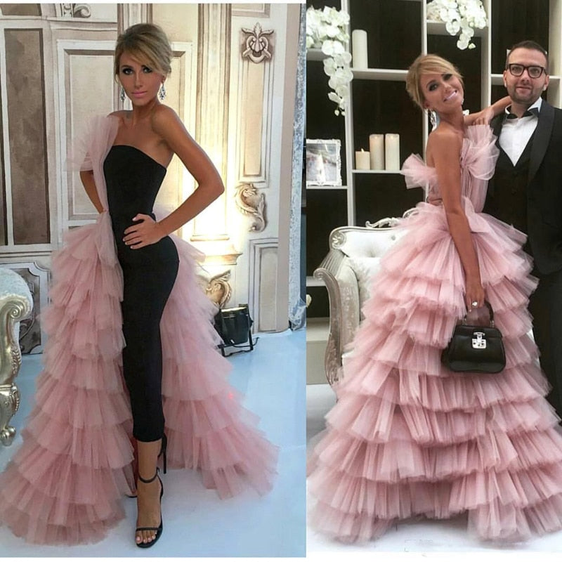 Chic Layered Ruffles Tulle Evening Gowns 2018 New Cascading Ruffle Long Formal Celebrity Party Dress Gorgeous Pink Prom Gowns