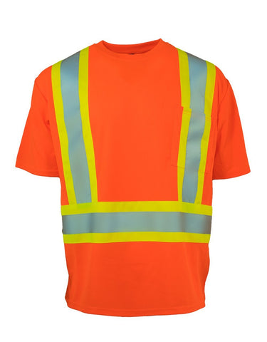 Forcefield - Hi Vis Crew Neck Short Sleeve Safety Tee Shirt with Chest Pocket