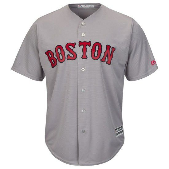CAMISETA MAJESTIC BOSTON RED SOX - GRIS / ROJO
