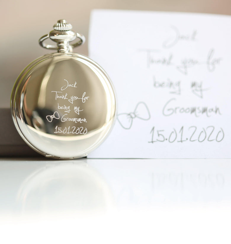 Own Handwriting Dual Opening Pocket Watch - DadiTude