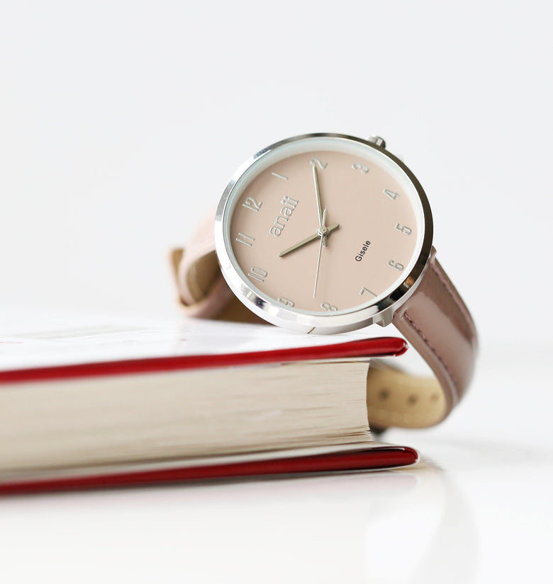 Handwriting Engraved Anaii Watch In Sandstone - DadiTude