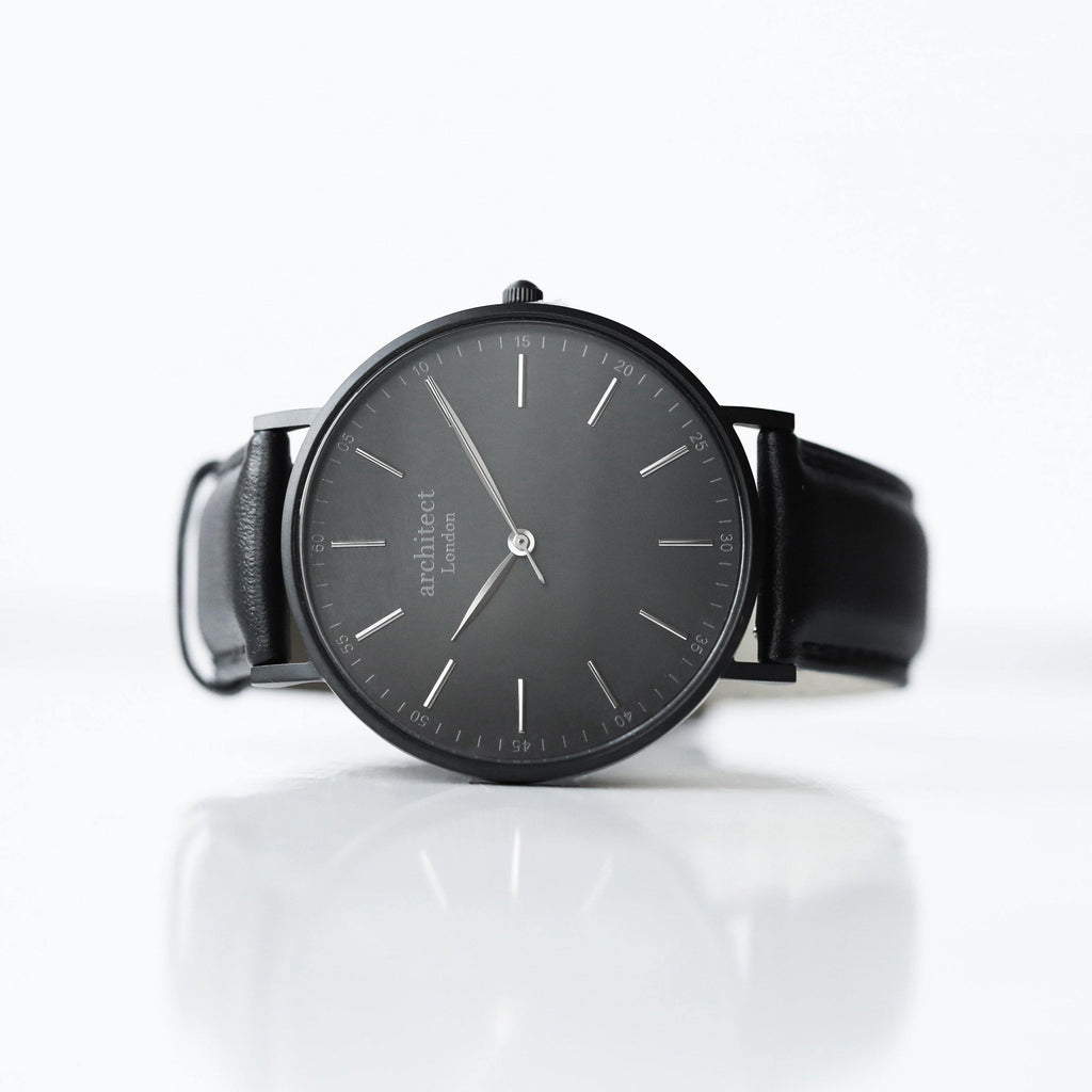 Modern Font Engraving - Men's Minimalist Watch + Jet Black Strap - DadiTude