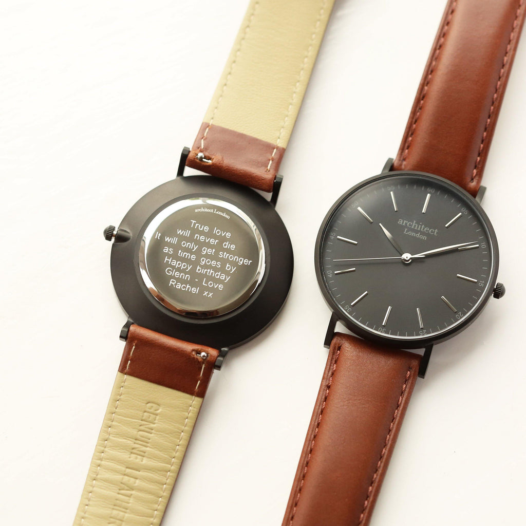 Modern Font Engraving - Men's Minimalist Watch + Walnut Strap - DadiTude