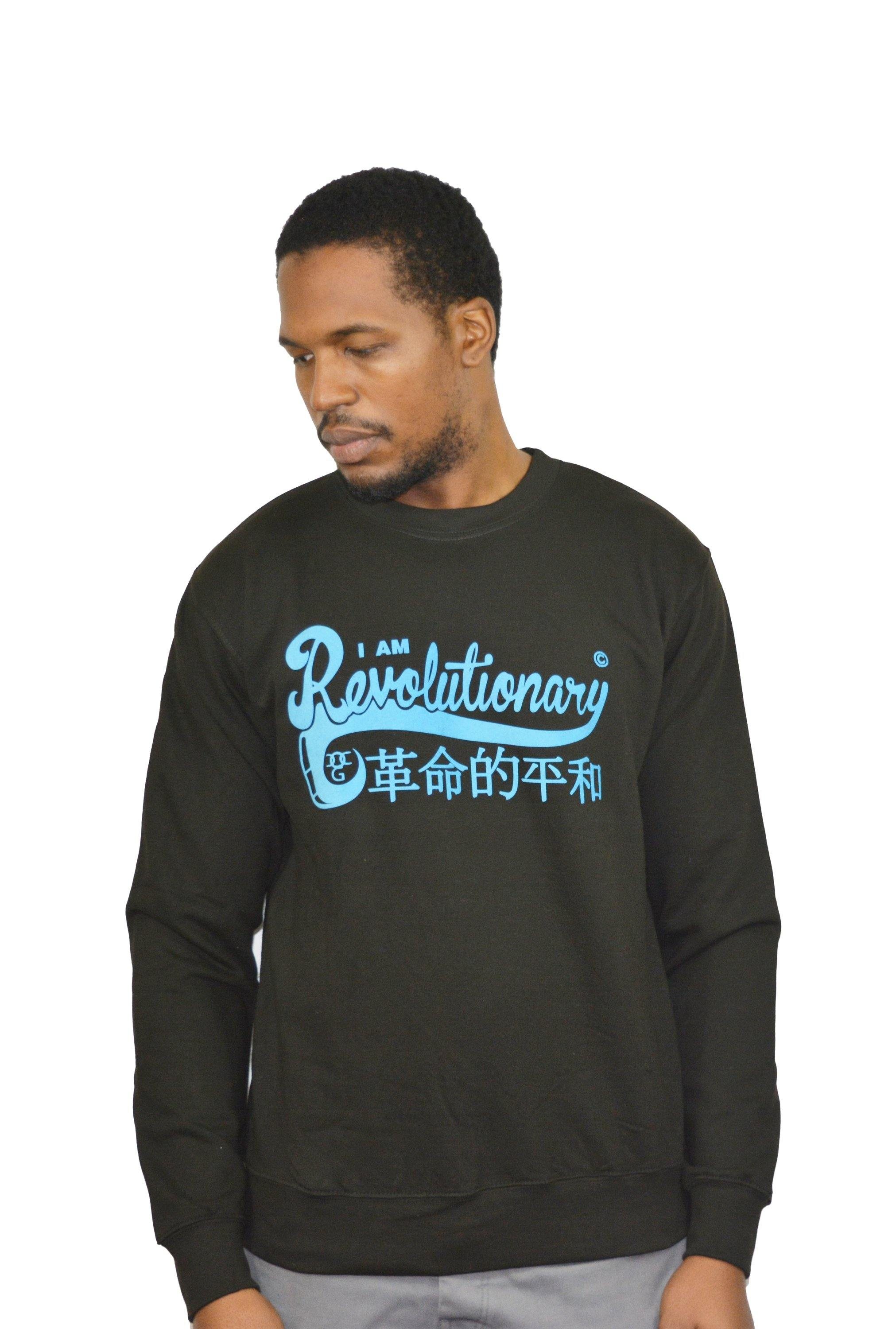 Mens Black / Blue I Am Revolutionary Sweatshirt - DadiTude