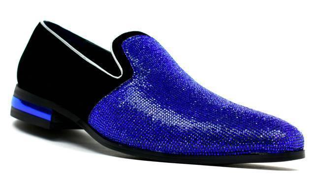 Men's Sparkling Glitter Party Shoes Royal Blue - DadiTude