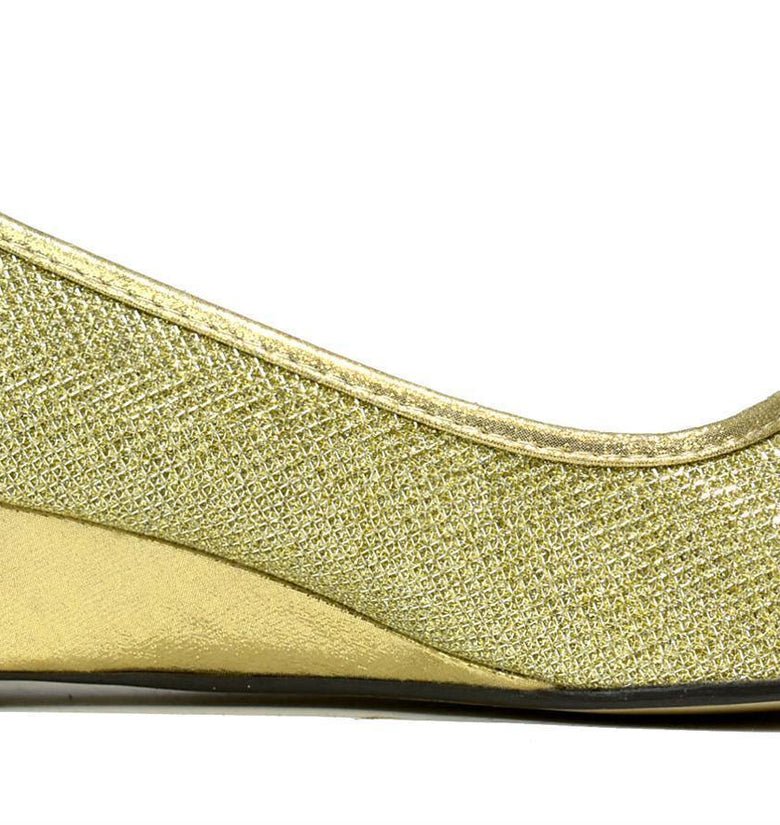 Silver Crystal Wedge Slip On Gold - DadiTude
