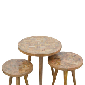 Set of 3 Nesting Tables with Patchwork Patterned Tops