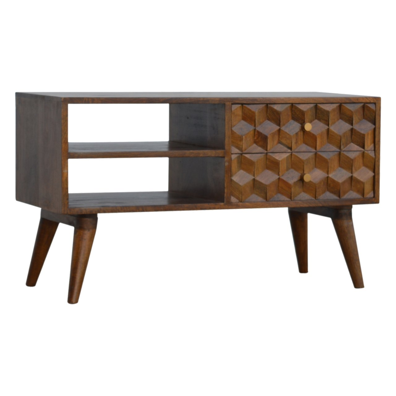 Chestnut Cube Carved Media Unit