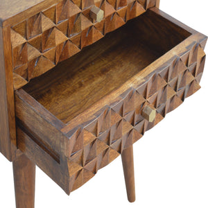 Diamond Carved Chestnut Bedside