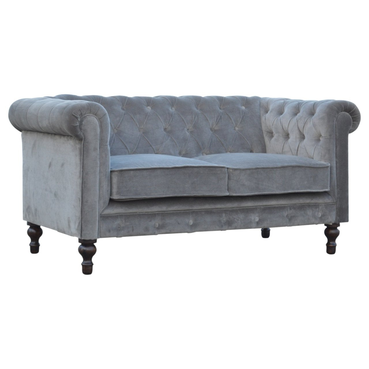 Grey Velvet 2 Seater Chesterfield Sofa