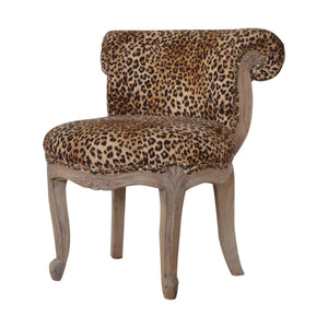 Leopard Print Studded Chair with Cabriole Legs