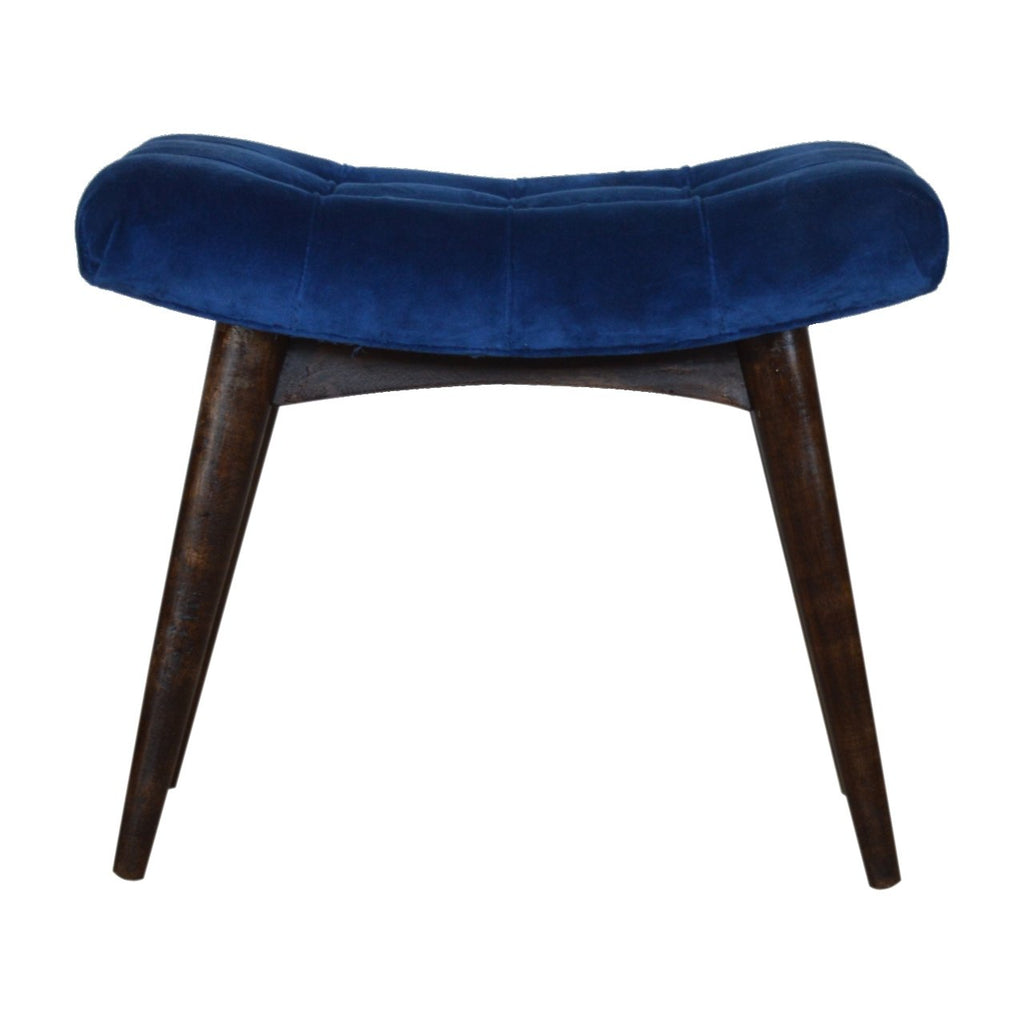 Royal Blue Cotton Velvet Curved Bench
