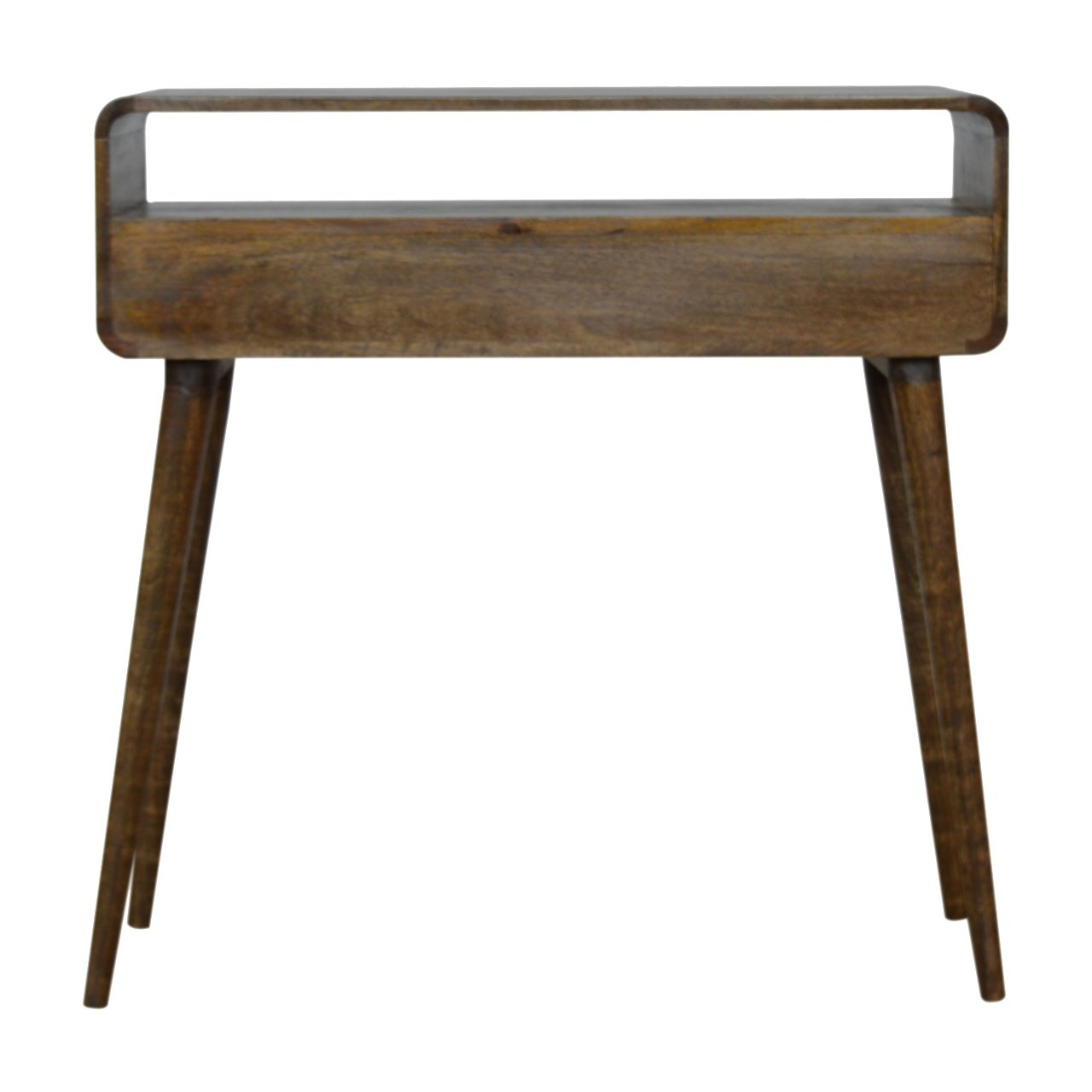 Curved Grey Washed Console Table