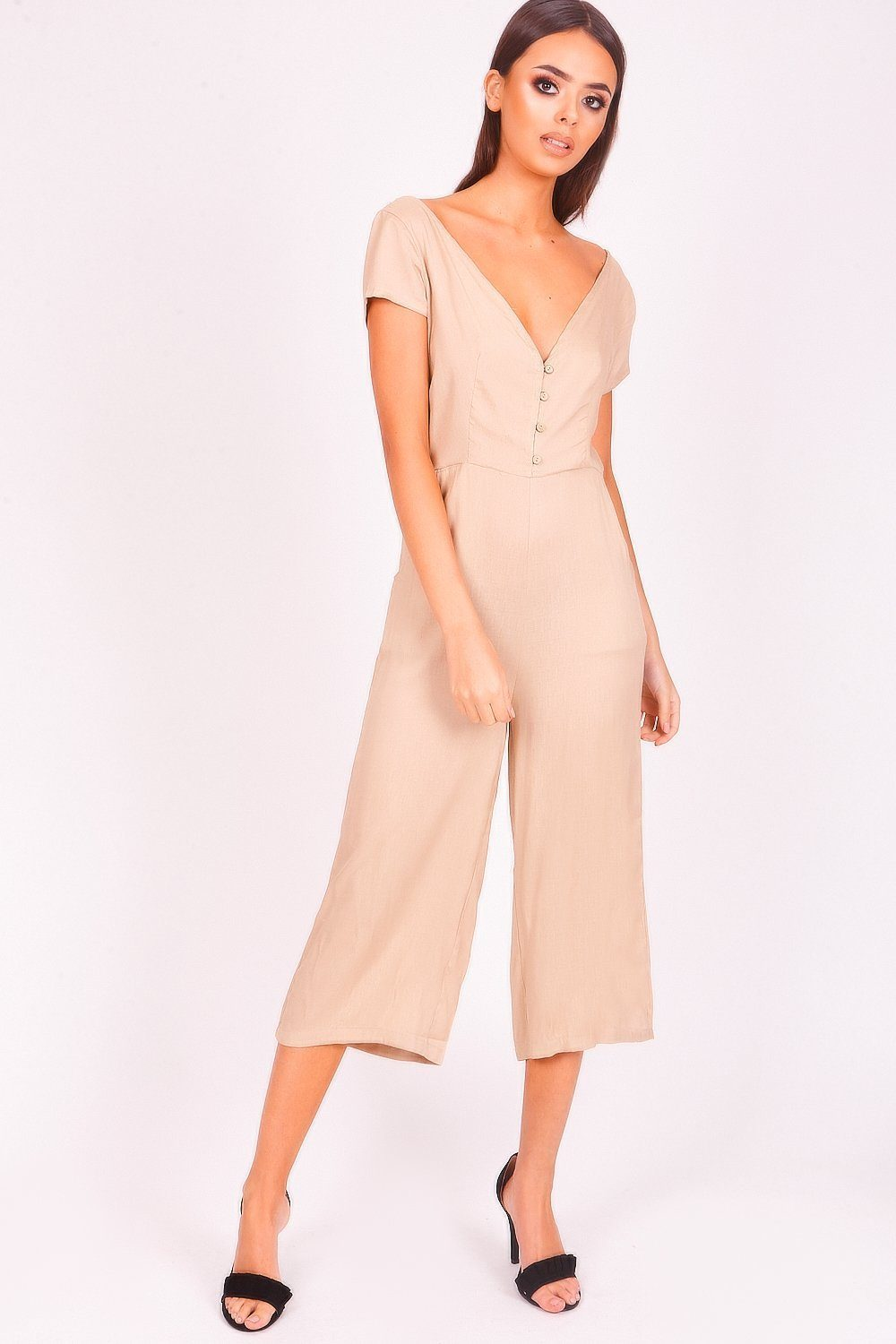 Beige Button Front Jumpsuit