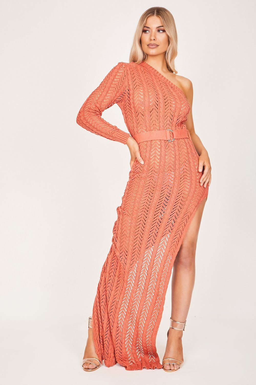 Rust Asymmetric Knit Maxi Dress