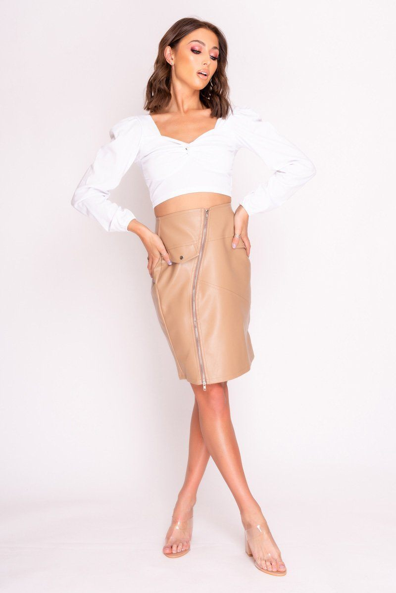 Nude Faux Leather Zip Front Midi Skirt