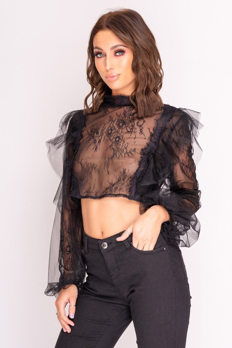 Black Sheer Lace Crop Top