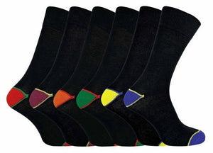 6 Pack Men Cotton Socks with Coloured Toe