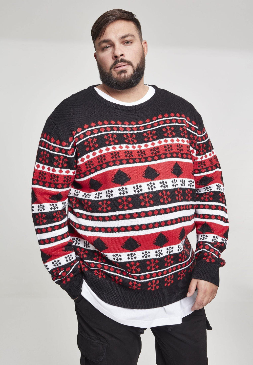 Snowflake Christmas Tree Sweater - Black Red White - DadiTude