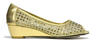 Priya Perforated Low Wedge Gold - DadiTude