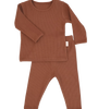 Caramel Ribbed Lounge Set Unisex Pyjama 2 Piece