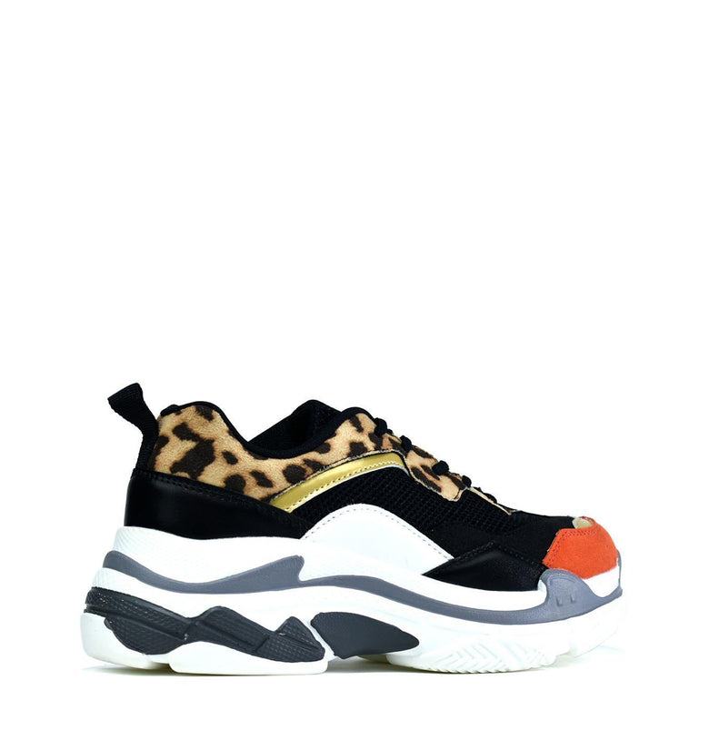 The Chunky Trainer Black/Leopard - DadiTude