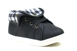 Unisex Chequered Turnover Trainers Black - DadiTude