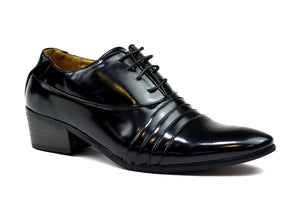 Men's Cuban Heel Formal Lace Up Shoes Black