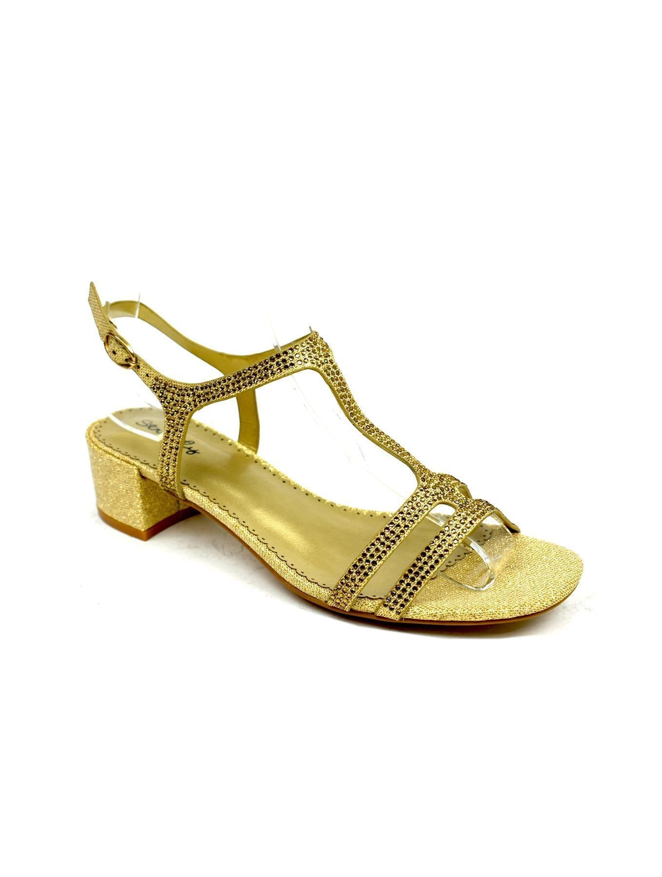 T-Bar Open Toe Evening Sandal Gold - DadiTude