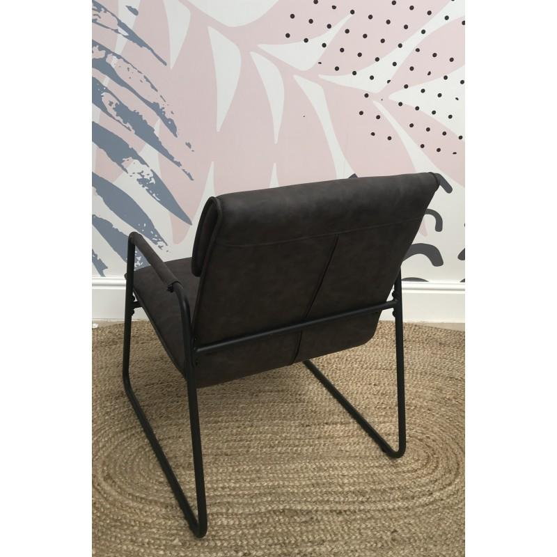 Deziiner Fitzroy Grey Faux Leather and Metal Armchair