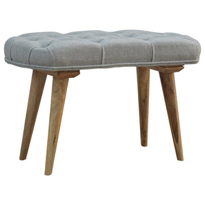 Nordic Style Bench with Deep Buttoned Grey Tweed Top